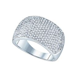 1 CTW Womens Round Diamond Pave Band Ring 10kt White Gold - REF-74X9T