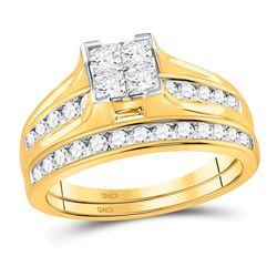1 CTW Princess Diamond Bridal Wedding Ring 14kt Yellow Gold - REF-109Y3N
