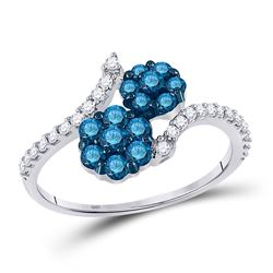3/4 CTW Womens Round Blue Color Enhanced Diamond Double Flower Cluster Ring 10kt White Gold - REF-34