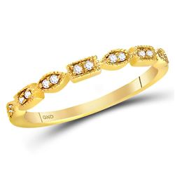 1/10 CTW Womens Round Diamond Geometric Stackable Band Ring 14kt Yellow Gold - REF-21T8V
