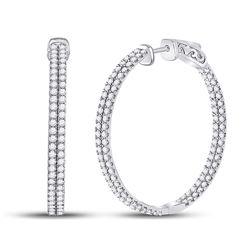 2 CTW Womens Round Diamond Double Row Hoop Earrings 14kt White Gold - REF-163R5X