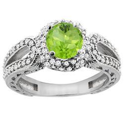 1.25 CTW Peridot & Diamond Ring 14K White Gold - REF-86K7W