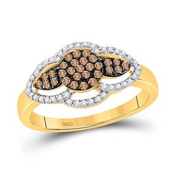 1/3 CTW Womens Round Brown Diamond Cluster Ring 10kt Yellow Gold - REF-26X5T