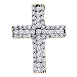 1/2 CTW Womens Round Diamond Cross Pendant 14kt Yellow Gold - REF-46V3Y