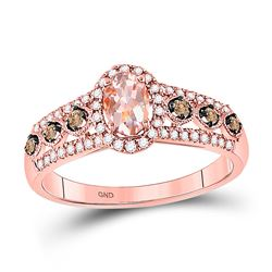1 CTW Womens Oval Morganite Brown Diamond Solitaire Ring 14kt Rose Gold - REF-47N6A