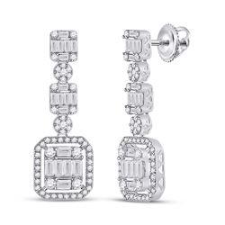 1 & 1/2 CTW Womens Baguette Diamond Dangle Earrings 14kt White Gold - REF-163M5F