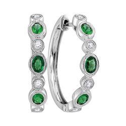 1 CTW Womens Oval Emerald Diamond Hoop Earrings 18kt White Gold - REF-109V2Y