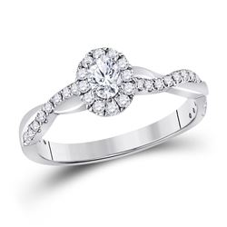 5/8 CTW Oval Diamond Halo Bridal Wedding Engagement Ring 14kt White Gold - REF-94Y3N