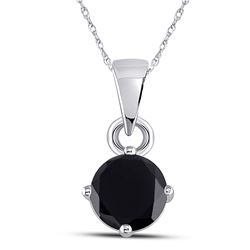 1 CTW Womens Round Black Color Enhanced Diamond Solitaire Pendant 10kt White Gold - REF-16A4M