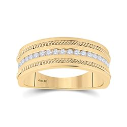 1/3 CTW Mens Round Diamond Wedding Rope Band Ring 14kt Yellow Gold - REF-85X3T
