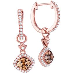 1/2 CTW Womens Round Brown Diamond Hoop Square Dangle Earrings 14kt Rose Gold - REF-54R5X