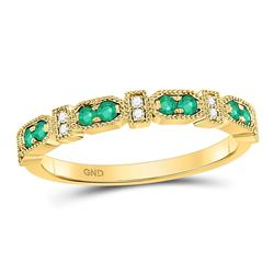 1/4 CTW Womens Round Emerald Stackable Band Ring 10kt Yellow Gold - REF-23V9Y