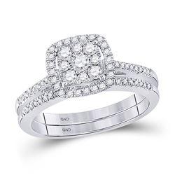 1/2 CTW Round Diamond Bridal Wedding Ring Band Set 10kt White Gold - REF-64Y8N