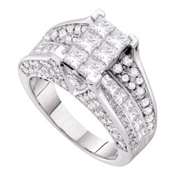 3 CTW Princess Diamond Cluster Bridal Wedding Engagement Ring 14kt White Gold - REF-354Y5N