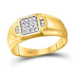 1/4 CTW Mens Round Diamond Square Cluster Ring 10kt Yellow Gold - REF-28M2F