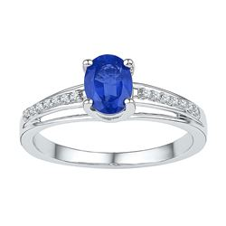 7/8 CTW Womens Oval Lab-Created Blue Sapphire Solitaire Ring 10kt White Gold - REF-15M2F