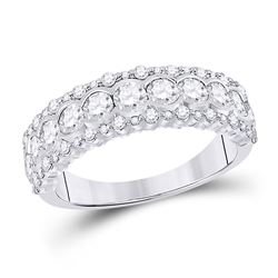 1 & 1/2 CTW Womens Round Diamond Cocktail Anniversary Ring 10kt White Gold - REF-124A6M
