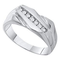 1/8 CTW Mens Round Diamond Wedding Band Ring 10kt White Gold - REF-30A5M