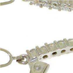 Genuine 6.3 ctw Blue Topaz & Diamond Earrings 14KT White Gold - REF-56H3X