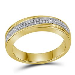 1/5 CTW Mens Round Diamond Double Row Crossover Wedding Band Ring 10kt Yellow Gold - REF-40V3Y