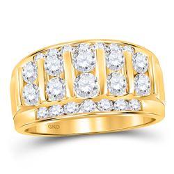 2 CTW Mens Round Diamond Wedding Channel Set 14kt Yellow Gold - REF-203H4R