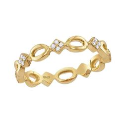 1/8 CTW Womens Round Diamond Stackable Band Ring 10kt Yellow Gold - REF-23F3W