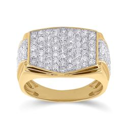 2 CTW Mens Radiant Diamond Cluster Ring 10kt Yellow Gold - REF-129A5M
