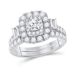 2 CTW Round Diamond Bridal Wedding Ring 14kt Two-tone Gold - REF-238A8M