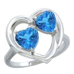2.60 CTW Swiss Blue Topaz Ring 14K White Gold - REF-33X9M