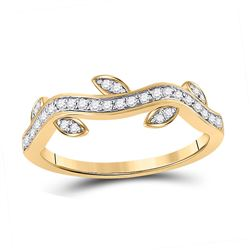1/6 CTW Womens Round Diamond Vine Stackable Band Ring 10kt Yellow Gold - REF-21V8Y