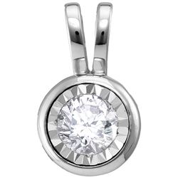 1/4 CTW Womens Round Diamond Solitaire Pendant 10kt White Gold - REF-30H5R