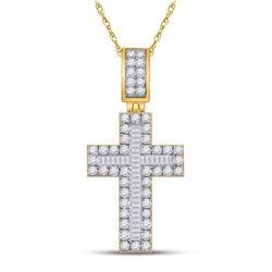 1 & 5/8 CTW Mens Baguette Diamond Cross Charm Pendant 10kt Yellow Gold - REF-112R5X