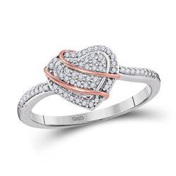 1/6 CTW Womens Round Diamond Heart Cluster Ring 10kt White Gold - REF-19W6H