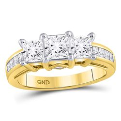 2 CTW Princess Diamond 3-stone Bridal Wedding Engagement Ring 14kt Yellow Gold - REF-431Y5N