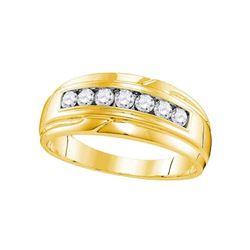 1/2 CTW Mens Round Diamond Wedding Single Row Band Ring 10kt Yellow Gold - REF-53N7A