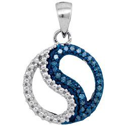 1/10 CTW Womens Round Blue Color Enhanced Diamond Circle Ying Yang Pendant 10kt White Gold - REF-12X