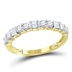 1/2 CTW Womens Baguette Round Diamond Band Ring 10kt Yellow Gold - REF-36F7W