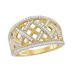 1/3 CTW Womens Round Diamond Lattice Fashion Band Ring 10kt Yellow Gold - REF-31W4H