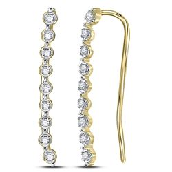 1/20 CTW Womens Round Diamond Climber Earrings 10kt Yellow Gold - REF-6Y3N