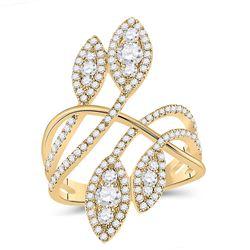 1 & 1/5 CTW Womens Round Diamond Statement Fashion Ring 14kt Yellow Gold - REF-146N6A