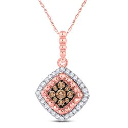 1/4 CTW Womens Round Brown Diamond Offset Square Pendant 10kt Rose Gold - REF-23X3T