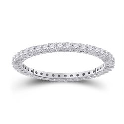 1/2 CTW Womens Round Diamond Eternity Wedding Band Ring 14kt White Gold - REF-39R5X