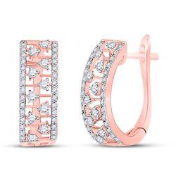 1/2 CTW Womens Round Diamond Hoop Earrings 14kt Rose Gold - REF-47Y6N