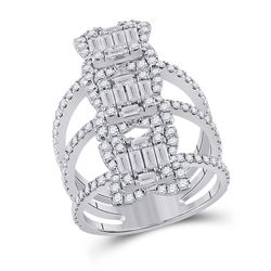 1 & 7/8 CTW Womens Baguette Diamond Spiral Fashion Ring 14kt White Gold - REF-187N5A