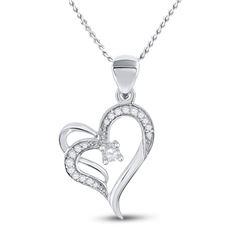 1/4 CTW Womens Round Diamond Heart Pendant 10kt White Gold - REF-20T5V
