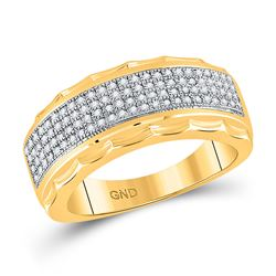 3/8 CTW Mens Round Diamond Scalloped Edge Band Ring 10kt Yellow Gold - REF-55V3Y