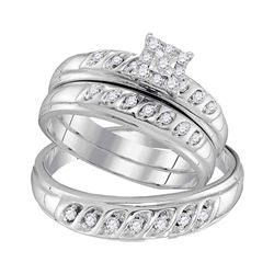 1/3 CTW His Hers Round Diamond Solitaire Matching Wedding Set 10kt White Gold - REF-41N6A