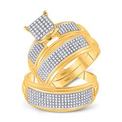 3/4 CTW His Hers Round Diamond Cluster Matching Wedding Set 10kt Yellow Gold - REF-75F7W