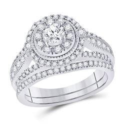 1 CTW Round Diamond Bridal Wedding Ring 14kt White Gold - REF-136R4X