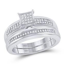 1/5 CTW Round Diamond Bridal Wedding Ring Band Set 10kt White Gold - REF-34A3M